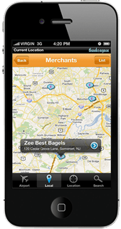 screenshot of thanks again mobile app map view